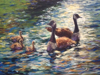 floating-with-the-family-30x40-oil-350x264 Sold!