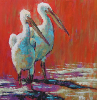 You and Me; 24x24 oil; Sold! at The Pink Rooster Ocean Springs, Ms