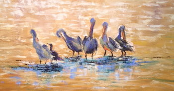 lunch-with-the-big-boys-ii-18x36-oil Sold!  at Pink Rooster Art Gallery , Ocean Springs, Ms.