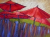red_umbrellas; pastel 18x24