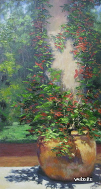 Red in Terra Cotta; oil 48x24 $ 1600.00