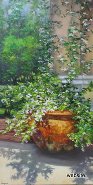 White in Terra Cotta; oil 48x24 $ 1600.00