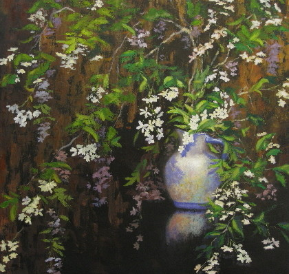 Small White Flowers oil 36x36 available