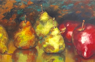 pears-and-apples-20x30; oil; available at The Pink Rooster; Ocean Springs, Ms