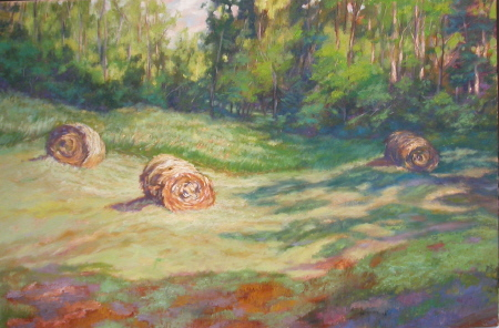 Morning Hay Bales oil 20×30